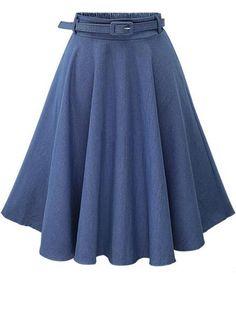 Heheja Damen Hohe Taille Midi Rock Sommer A-line Freizeit Jeansrock Dunkel Blau High Waisted Denim Skirt, Pleated Midi Skirt, Denim Skirts, Skater Skirt, Blue Skirts, Midi Skirts, Women's Skirts, Waist Skirt, Street Style Chic