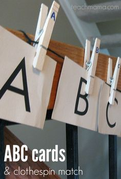This abc cards and clothespin match game is a great help for early literacy for kids. It's a fun alphabet letter game that will have them enjoying playing a game and learning the alphabet at the same time! What better way to get those kiddos to learn and recognize letters! #teachmama #earlyliteracy #alphabet #learnthealphabet #education #letterrecognition #teachingtoddlers #alphabetlearning #abc #matchinggame