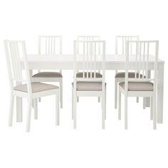 BJURSTA/BÖRJE Mesa e 6 cadeiras - branco/Kungsvik cor-de-areia - IKEA