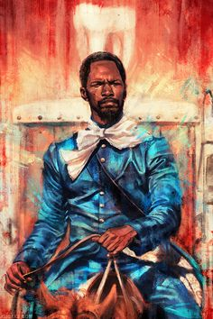 Movie Paintings of Alice X. Zhang. Love it when Django rides up on his horse in that badass blue suit lol