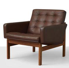 Ole Gjerløv-Knudsen and Torben Lind; Teak and Leather Lounge Chair for France & Son, 1960.