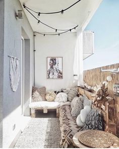 Describe this cozy balcony in one word! Discover eDescribe this cozy balcony in one word! Discover ePray for surf wall art, surf summer decor, trendy cozy balcony decor, diy decor ideas, printable art - My Apartment Balcony Decorating, Apartment Balconies, Apartment Living, Cozy Apartment, Apartment Design, Beach Apartment Decor, Living Rooms, Girls Apartment, Apartment Plants