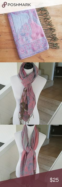 """Pink and Blue Pashmina Scarf Wrap Nice pink and blueish purple Pashmina in great shape.  Approx measures 68"""" long not including fringe and 26"""" wide.  Happy to answer questions, thanks!❤ Pashmina Accessories Scarves & Wraps"""