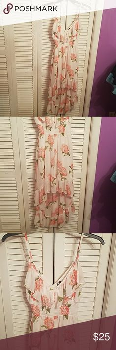 GORGEOUS HIGH LOW SEXY DRESS💕💕 This is stunning. Its sheer haft way down so you can see through and there's a mini type skirt underneath.  This was wore one time for a wedding 💕💕 Thid would be BEAUTIFUL to take BEACH pics in on vacation. Perfect 💕💕💕💕😘💟 you will love this💕💕💕😘 HeartSoul Dresses Mini