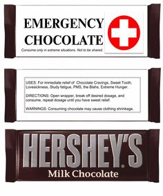 Prescription Label For Emergency Chocolate Christmas