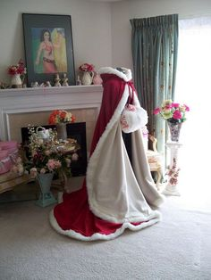 Valentine Bridal cape 65 inch RED / White Satin with Fur Trim Wedding Cloak Handmade in USA Winter Wedding Cape, Winter Bride, Winter Wonderland Wedding, Winter Cape, Winter Cloak, Bridal Cape, White Satin, Fur Trim, Wedding Gowns
