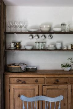 Country kitchen with open shelving