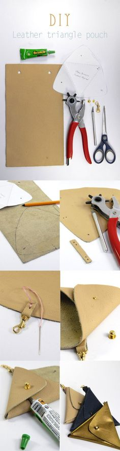 DIY Leather Triangle Pouch Tutorial with FREE Pattern