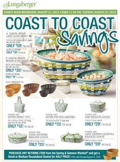 Coast To Coast Savings! Save BIG on Coastal Breeze and Coastal Gate Favorites — Baskets, Bowls and Bags! Slope Bowls in your color choice with matching Acrylic Bowls available. Perfect for entertaining!  For the beach or for back to school, Coastal Gate Bags are like a breath of fresh air.
