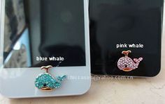 AKPhi Willy the Whale! Bling home button stickercharm for iphone diamond by blingcase, $4.98
