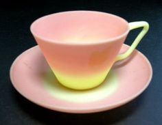 #American #Glass: Burmese Cup and Saucer by Mt. Washington Glass Company, 1885-1895 | Corning Museum of Glass