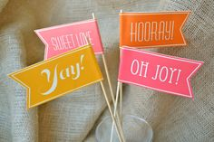 """50 Colored """"Piped Edges"""" Custom Celebratory Paper Flags"""