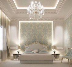 Ideas for wallpaper bedroom classic interior design Blue Bedroom, Trendy Bedroom, Modern Bedroom, Bedroom Classic, Classic Bedding, Bedroom Neutral, Neutral Walls, Bedroom Small, Bedroom Colors