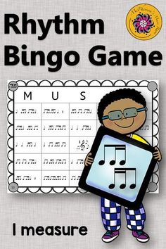 Fun music game! Your elementary music students will love this rhythm bingo game. Easy music activity to add to lesson plan!