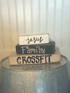 Handmade Custom Shabby Chic Country Rustic Jesus, Family, Crossfit Wood Block Sign Wedding Gift Home Decor by HumbledBride on Etsy https://www.etsy.com/listing/243042482/handmade-custom-shabby-chic-country
