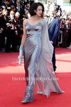 Asia Argento Silver Evening Dress 2013 Cannes Film Festival Red Carpet Gown