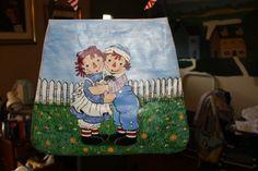 Handpainted Raggedy Ann and Andy handbag