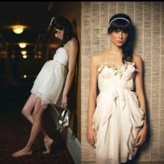 Creme white colored dress: #zooeydeschanel