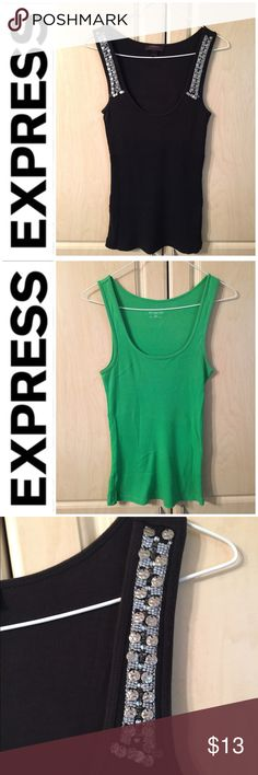 🎉Host Pick!!🎉TWO TANKS BUNDLE💥 Express Tanks 🎉Host Pick 6/26/2017🎉💥💥Bundle Of Two💥💥 Express Tanks, Like New, Neon Green, & Black With Stone Accents, Third Picture Shows Close Up, None Are Missing, Fourth Picture Shows Close Up Of Shimmery Metallic Thread Used On Green Tank, Green Tank Is XS & Black Is Small, Smoke & Pet Free Home Express Tops