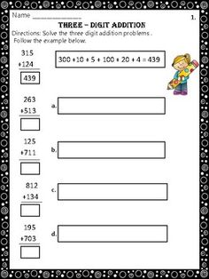 Three-Digit Addition Worksheets:This product contains 20 Common Core worksheets that ask the students to solve three-digit addition problems in 2 different ways:1. The students will solve the additions the classic way. 2. The students will decompose the three digit numbers in hundreds, tens, and ones, and then add them.Answer Sheet Included .Each worksheet provides an example for the students to follow.Example:421+256=677400+20+1+200+50+6=677Happy teaching!Christian's Learning Center
