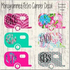 Monogrammed Retro Camper Decal, Retro Airstream, Wanderlust, Camping, Lily Pulitzer, Printed Vinyl, Monogram, Camping Decal, Vinyl Decal by BrandywineHD on Etsy
