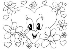 Beautiful Valentine's day online coloring pages for kids. Here you will find coloring pages of love and share it with your loved. Heart Coloring Pages, Free Coloring Sheets, Online Coloring Pages, Printable Coloring Pages, Coloring Pages For Kids, Valentines Flowers, Valentine Heart, Colorful Drawings, Colorful Pictures