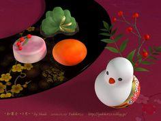 New Year sweets plating  Shadeで作成 他の和菓子の画像も見る>>. ★クリックすると少しだけ大きく見ること ...    yukikot23.exblog.jp