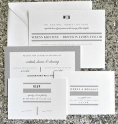 Bailey Wedding Invitation Suite with Stripes Belly by lvandy27