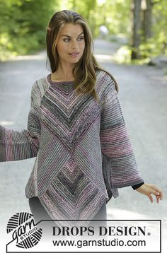 Diamond Cut - Knitted tunic in DROPS Fabel. The piece is worked back and forth with garter stitch, domino squares and stripes. Sizes S - XXXL. - Free pattern by DROPS Design Winter Knitting Patterns, Knitting Stitches, Knit Patterns, Free Knitting, Vogue Knitting, Stitch Patterns, Pull Poncho, Knitted Poncho, Sweaters Knitted