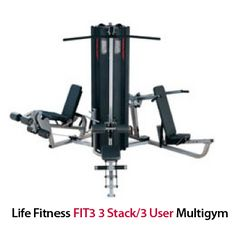 Life Fitness FIT3 3 Stack/3 User Multigym  Fit 3 provides the user with a three station multigym, each station operating from a independent weight stack: http://www.menshealthstore.co.uk/Life-Fitness-FIT3-3-Stack-3-User-Multigym-(leg-curl-extend)/lid/10981