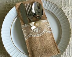 10 burlap and natural color lace rustic silverware by PinKyJubb