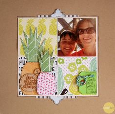 Pineapple Motifs created with digital cut files from the April Cocoa Daisy Kits. Scrapbook Paper Crafts, Scrapbook Cards, Scrapbook Layouts, Scrapbooking Ideas, Cocoa, Vacation Scrapbook, Cute Cards, One Pic, Four Square