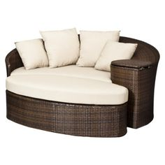 Built in cooler so I don't even have to move?! -- Threshold™ Rolston Wicker Patio Daybed