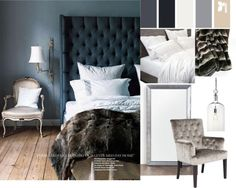 My master, black nightstands, navy tufted headboard, gold starburst mirror, mirror framed mirror over rustic dresser. white bedding, kilim pillow. Need wall color?