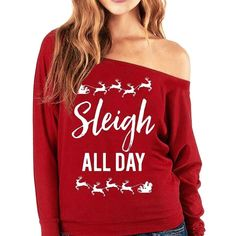 Womens Christmas Long Sleeve Letter Sweatshirt Printed Pullover