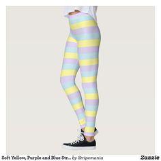 Soft Yellow, Purple and Blue Stripes Leggings #leggings #yogapants #workout #fitness #pilates #spandex #fashion