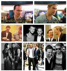 Tom Hiddleston Chris Hemsworth http://pinterest.com/yankeelisa/marvel-s-the-avengers-4/