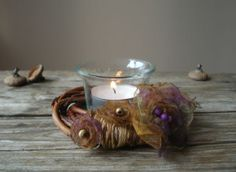 Tea light holder, Candle ring, Willow wreath ring, Purple Brown Home decor, Table decor, Floral wreath, Gift for her  By:- vendecor