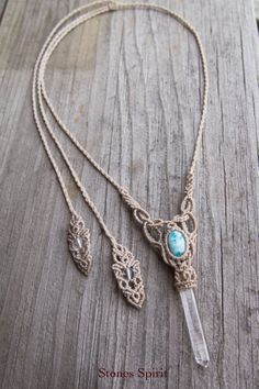 macrame crystal necklace