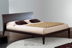 Royal Modern Designer Hard Leather Bed by Bonaldo
