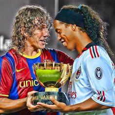 Puyol and Ronaldinho AC Milan and FC Barcelona