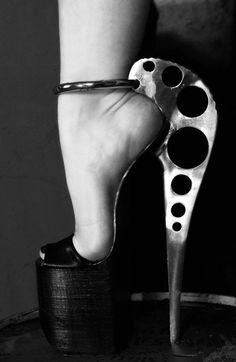 Future Fashion, futuristic shoes, industrial style, avant-garde, metallic, futuristic fashion, strange, unique, strange shoes, industrial by...