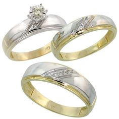 Gold Plated Sterling Silver Diamond Trio Wedding Ring Set His 7mm  Hers 55mm Ladies Size 10 * For more information, visit image link.