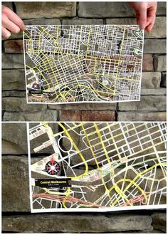 Melbourne map paper cut by Karen O'Leary (Studio K)  US-based artist Karen O'Leary (aka Etsy seller Studio K) makes these incredible paper cut maps. They've been doing the blog rounds in the last few months… but still I had to share because they are so lovely – and because in amongst her painstakingly intricate London, Paris and NYC maps is one of little old Melbourne!