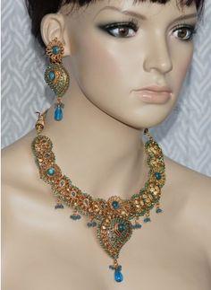 Blue stone polki necklace set