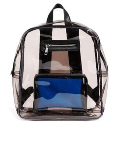 Festival Fashion - clear coloured plastic backpack with leather-look trims