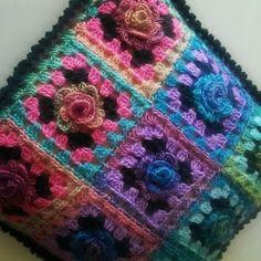Monet rose granny square pillow