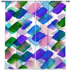 STROKES OF GENIUS 3 Polka Dots Blue Purple Green Window Curtains by EbiEmporium