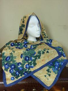 Vintage Silk Scarf Metropolitan Museum of Art Morning Glories