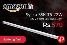 Amazon #LightningDeal is offering 57% off on #Syska SSK-T5-22W B22 22 Watt LED Tube Light Just at Rs.579. Slim LED tube light in aluminium housing and easy installation. Uniform light output with maximum brightness and highly energy efficient. 50,000 hours Long Lifespan, Base: B22, Color Temperature: 6500K, Lumens: 2130lm, Power: 15 watts; Operating Voltage: 90-300 volts, 2 years Warranty.   http://www.paisebachaoindia.com/syska-ssk-t5-22w-b22-22-watt-led-tube-light-just-at-rs-579-amazon/